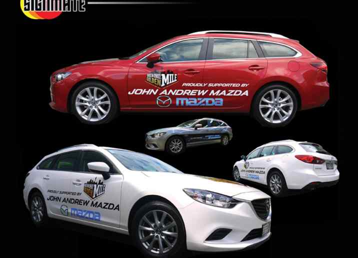 Mazda car promotion graphic, 3M vinyl cutting, full car wrapping, high quality digital print and cut, air release laminating
