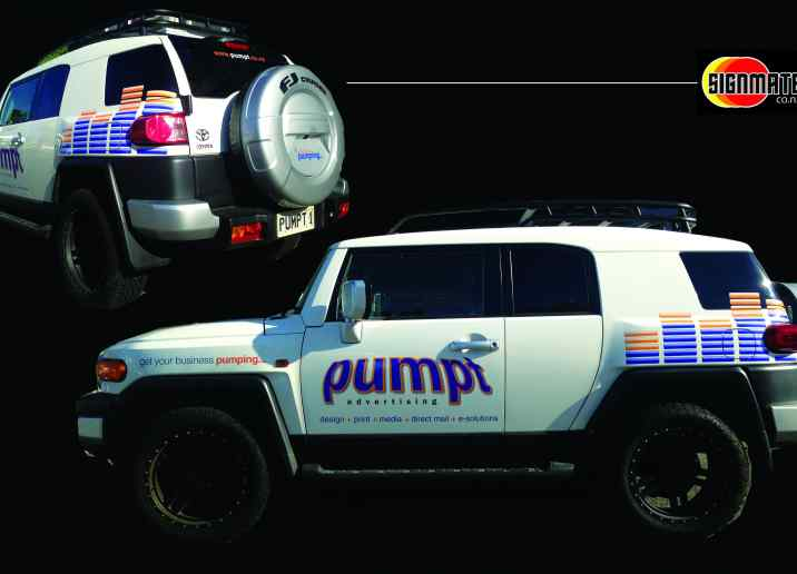pumpt advertising car graphic