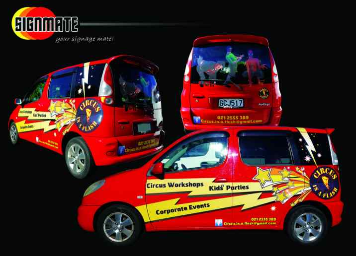 Commercial graphic, 3M vinyl cutting, full car wrapping, high quality digital print and cut, air release laminating, Toyota funcargo
