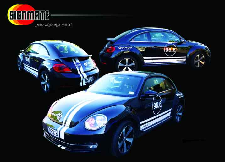 Commercial graphic, 3M vinyl cutting, full car wrapping, high quality digital print and cut, air release laminating, VW beetle