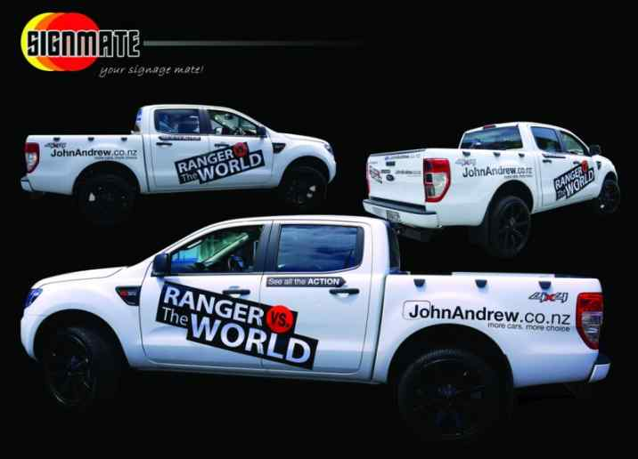 Commercial graphic, 3M vinyl cutting, full car wrapping, high quality digital print and cut, air release laminating, Ford Ute promotion