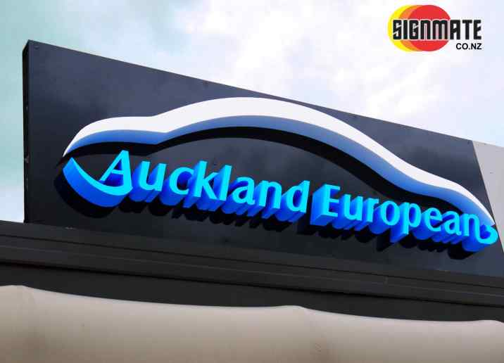 3D cutting, white & blue PVC, building signage, back sticker, finished polish