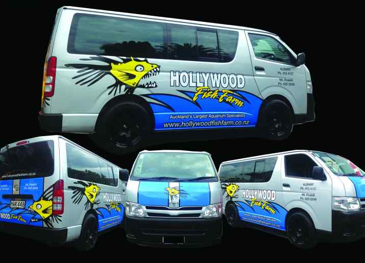 hollywoodfishfarm van car graphic